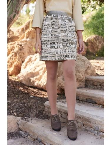 Falda mini tweed lana