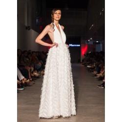 vestido novia plumas largo