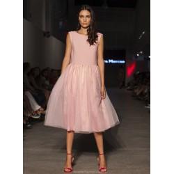 Vestido combi rosa plumeti