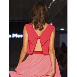 Top rosa lazo espalda