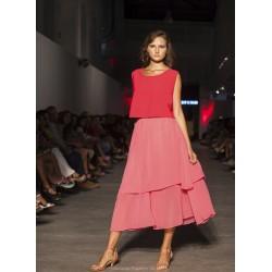 Falda gasa 2 capas color rosa