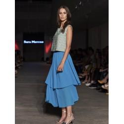 Falda gasa 2 capas color azul